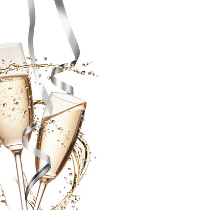 Foto de Two glasses of champagne with splash, isolated on white background - Imagen libre de derechos