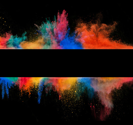 Foto de Freeze motion of colored dust explosion in stripe sahep, isolated on black background - Imagen libre de derechos