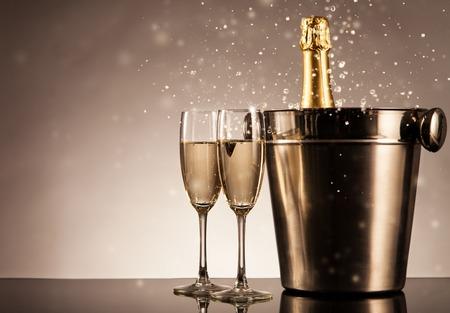 Foto de Champagne bottle with glasses. Celebration theme with champagne still life - Imagen libre de derechos