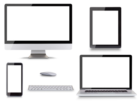 Foto de Collection of modern electronic devices isolated on white background. - Imagen libre de derechos