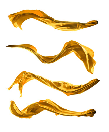 Foto de Isolated shot of freeze motion of golden silk, isolated on white background - Imagen libre de derechos