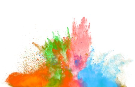 Photo pour Freeze motion of colored dust explosion isolated on white background - image libre de droit