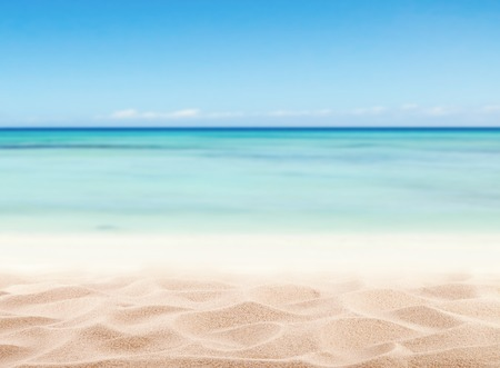 Photo pour Empty sandy beach with sea. Free space for text or product placement - image libre de droit