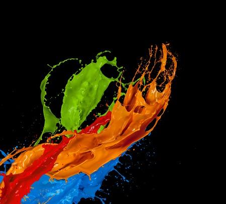 Photo pour Colored paint splash isolated on black background - image libre de droit