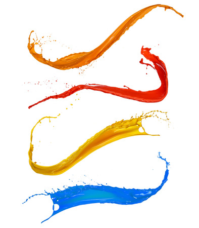 Photo pour Colored paint splashes collection, isolated on white background - image libre de droit