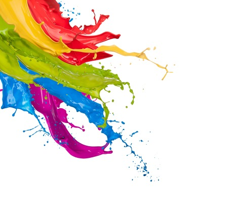 Foto de Colored paint splashes isolated on white background - Imagen libre de derechos