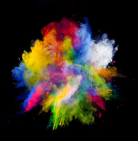 Photo pour Isolated shot of abstract colored powder shape on black background - image libre de droit