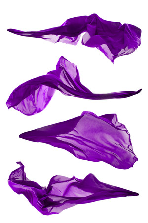 Photo pour Isolated shots of freeze motion of purple transparent silk, isolated on white background - image libre de droit