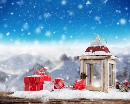 Photo for Christmas still life background with decoration in snow - Royalty Free Image