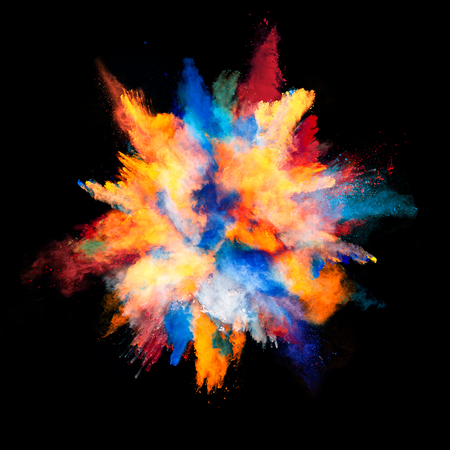 Photo for Explosion of colored powder, isolated on black background - Royalty Free Image