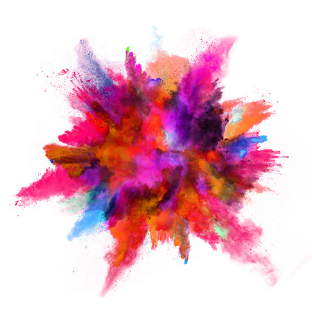 Photo pour Explosion of colored powder, isolated on white background - image libre de droit