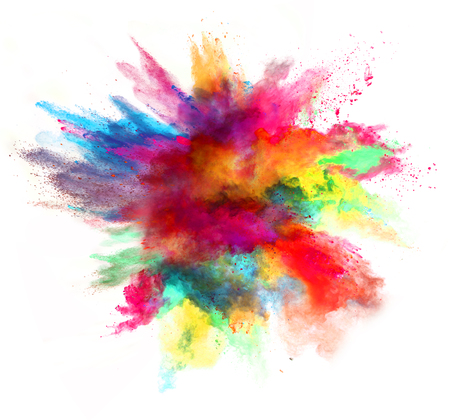 Foto de Explosion of colored powder, isolated on white background - Imagen libre de derechos