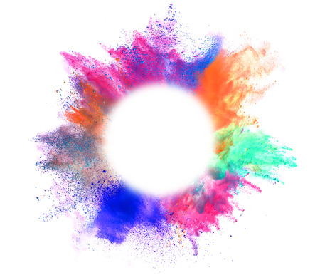Foto per Explosion of colored powder with empty space for text, isolated on white background - Immagine Royalty Free