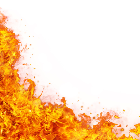 Foto de Abstract fire flames background with free space for text. Isolated on white - Imagen libre de derechos