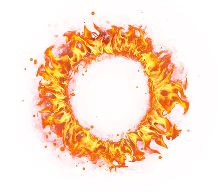 Photo pour Abstract shape of fire circle isolated on white background - image libre de droit
