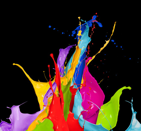 Foto de abstract color splash isolated on black background - Imagen libre de derechos