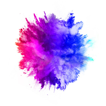 Photo for Explosion of colored powder, isolated on white background - Royalty Free Image