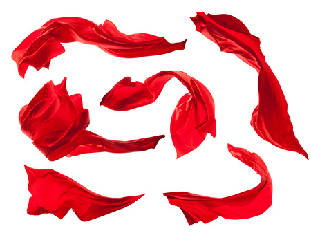 Photo pour Smooth elegant red satin cloth collection isolated on white background - image libre de droit