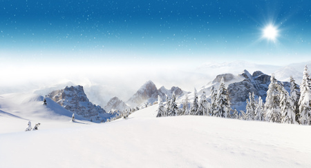 Foto de Beautiful winter panorama with fresh powder snow. Landscape with spruce trees, blue sky with sun light and high Alpine mountains on background - Imagen libre de derechos