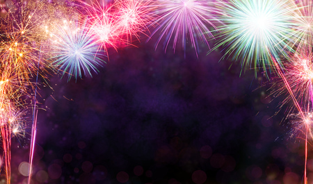 Photo pour Abstract colored firework background with free space for text - image libre de droit