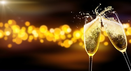 Photo for Two glasses of champagne over blur spots lights background. Celebration concept, free space for text - Royalty Free Image