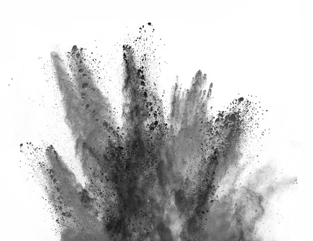 Photo pour Explosion of black powder, isolated on white background - image libre de droit