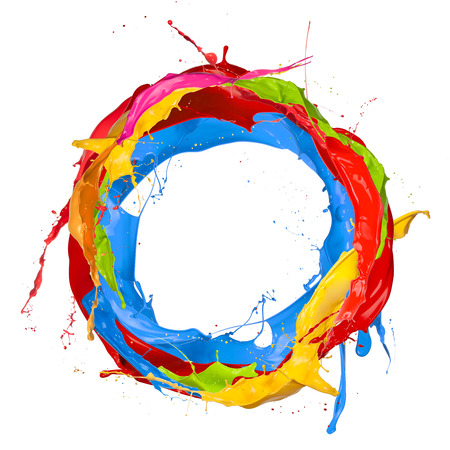 Photo pour Abstract color splashes in circle shape, isolated on white background - image libre de droit