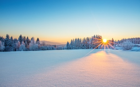 Photo for Majestic sunrise in the winter mountains landscape. High resolution image - Royalty Free Image