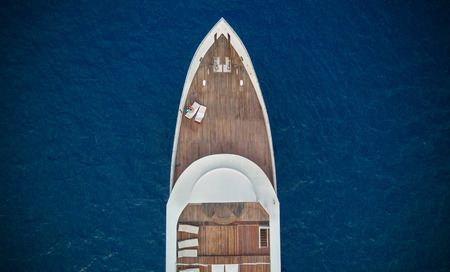 Photo for Aerial close-up view of big luxury yacht in sea, copyspace for text - Royalty Free Image