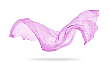 Photo pour Smooth elegant pink transparent cloth separated on white background. Texture of flying fabric. - image libre de droit