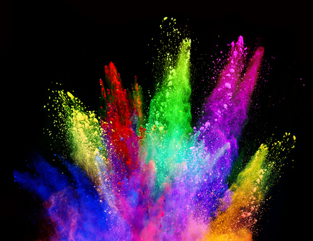 Photo for Explosion of colored powder, isolated on black background. Power and art concept, abstract blust of colors. - Royalty Free Image