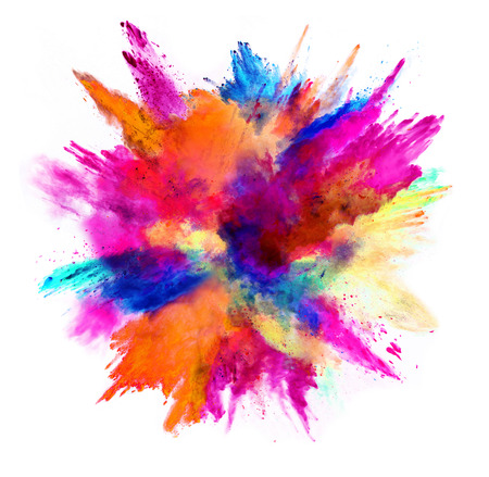 Foto de Explosion of colored powder, isolated on white background. Power and art concept, abstract blust of colors. - Imagen libre de derechos