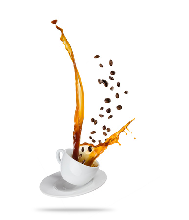 Foto de Porcelaine white cup with splashing coffee liquid with coffee beans, isolated on white background. Very high resolution image - Imagen libre de derechos