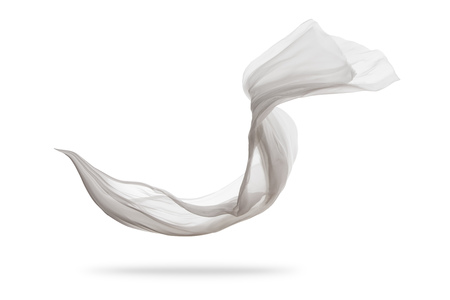 Photo pour Smooth elegant white transparent cloth separated on white background. Texture of flying fabric. Very high resolution image - image libre de droit
