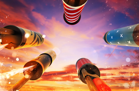 Photo for Bottom view of fireworks rockets launching into the sky, free space for text. Concept of celebration and New Years Eve. 3D render of rockets. - Royalty Free Image