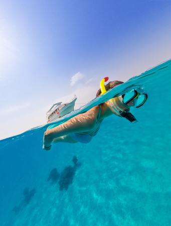 Photo for Snorkeling woman exploring ocean sealife, under and above water photography. Travel lifestyle, water sport outdoor activities, swimming and snorkeling on summer beach holidays. - Royalty Free Image