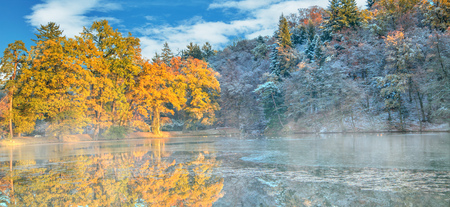 Photo for Beautiful colored trees with lake in autumn, landscape photography. Late autumn and early winter period. Outdoor and nature. - Royalty Free Image