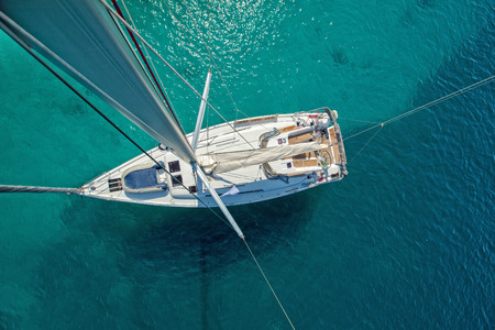 Foto de View from high angle of sailing boat. Aerial photography of ship deck, shot from main spar. - Imagen libre de derechos