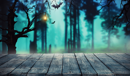 Photo for Spooky halloween background with empty wooden planks, dark horror background. Celebration theme, copyspace for text. Ideal for product placement - Royalty Free Image