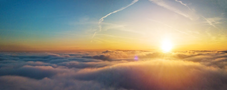 Photo for Beautiful sunset above clouds with sunrays - Royalty Free Image