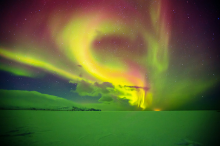Photo for Beautiful aurora borealis northern light in Iceland, shot in early winter period - Royalty Free Image