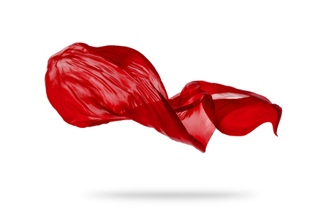 Photo for Smooth elegant red transparent cloth separated on white background. Texture of flying fabric. Very high resolution image - Royalty Free Image