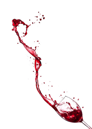 Photo pour Red wine splashing from glass, isolated on white background. - image libre de droit