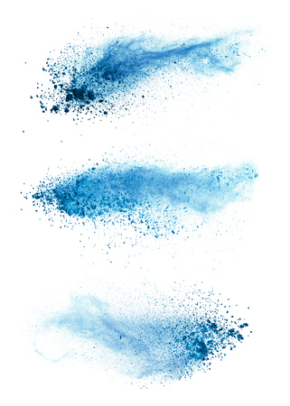 Photo pour Abstract blue powder explosion isolated on white background. High resolution texture - image libre de droit