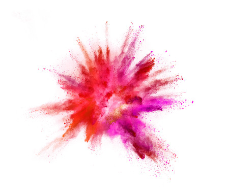 Photo pour Explosion of coloured powder isolated on white background. - image libre de droit