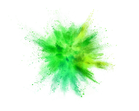 Photo for Explosion of coloured powder isolated on white background. Abstract colored background - Royalty Free Image