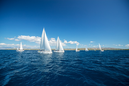 Photo for Sailing yachts regatta competition. Summer sport and recreation activities. - Royalty Free Image