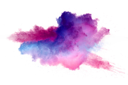 Photo pour Collision of colored powder isolated on white background. Abstract colored background - image libre de droit