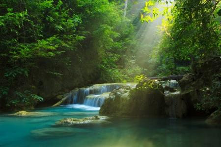 Photo for Relaxing view of Erawan waterfall, Erawan National Park - Royalty Free Image