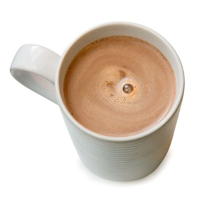 Hot chocolate in a white cup